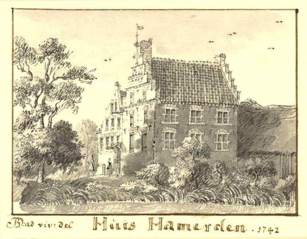 Huis Hamerden in Westervoort. Tekening Jan de Beijer, 1742